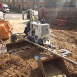 Static line pump on a construction site