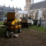 Working in Westminster with a static trailer concrete pump