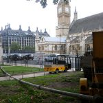 A static line set up for concrete pumping in Westminster, London