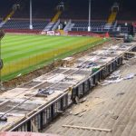 Pouring concrete pitchside at Fulham FC