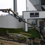 Concrete boom pump extended at Fulham FC
