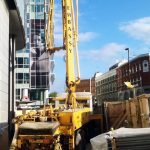 Schwing 24 X boom pump working in East London