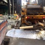 Sermac 27m concrete boom pump rear with pipeline