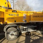 CIFA 42m reach content boom pump in action