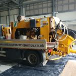 Schwing Bulldog SP500 static truck mounted line pump at work