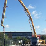 Sermac 36m concrete boom pump at work in Crawley