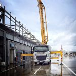Sermac 36m concrete boom pump working at London City Airport