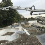 Concrete pumping at Sittingbourne skatepark, Kent