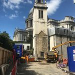 Concrete pumping at St Paul's Cathedral, London